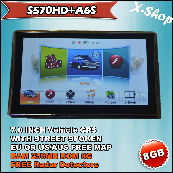 New arrival S570+A6S Radar Detectors 7'inch HD GPS Navigation 8GB AU/CA/US MAP& RAM 256MB Russia/Belarus/Ukraine/Brazil map(China (Mainland))