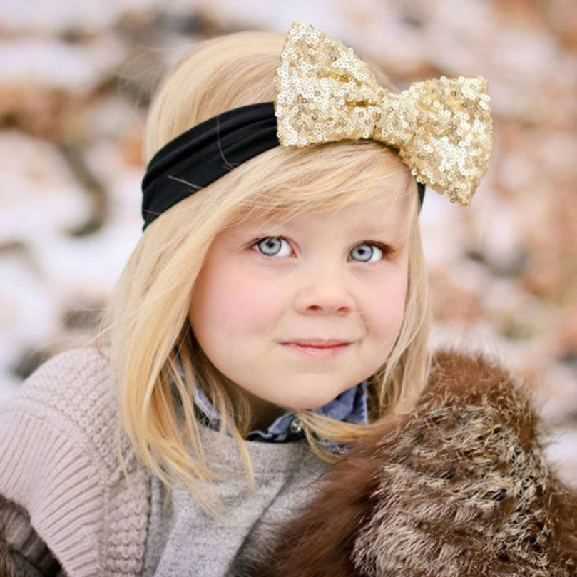 New Design Fashion Elastic Children Headband Cute Sequins Bow Baby Girl Hair Accessories free shippingОдежда и ак�е��уары<br><br><br>Aliexpress