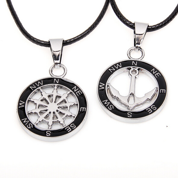 2015 New Top Fashion Compass Anchor Necklace,Floating Charm Lovers' Pendant Necklaces,Long Neckless Women Neckless Men Jewelry(China (Mainland))