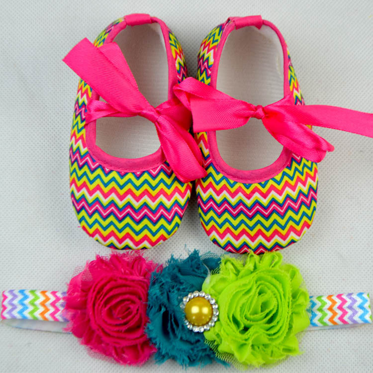 princess toddler chevron pre-walker shoes floral hairbands headbands Child zigzag spring walker