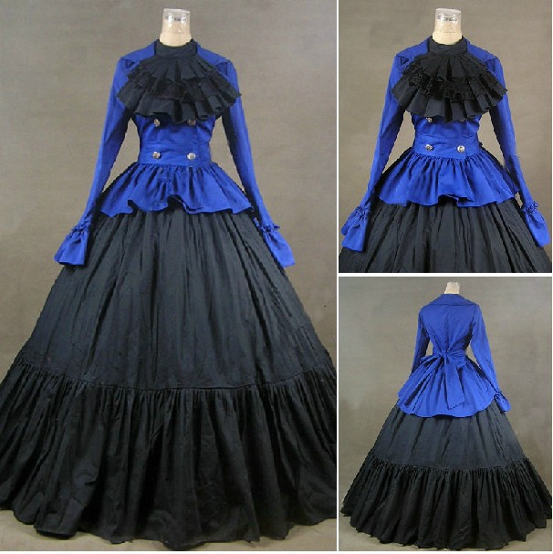 Lavender Trumpet Long Sleeves Marie Antoinette Victorian Dress Long Sleeves Ball Gown(China (Mainland))