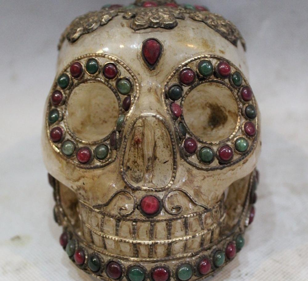 6 Natural Crystal Original Handwork Carving inlay beryl Gem Skeleton Skull head(China (Mainland))