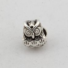 10pcs Tibetan Silver Alloy Owl Large hole Spacer Beads Fit European Charms Bracelet