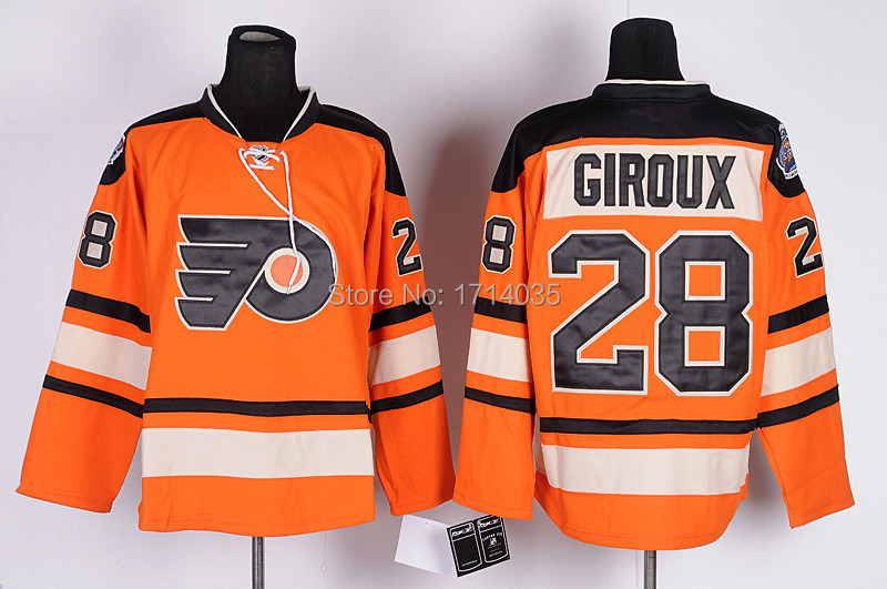 Philadelphia Flyers #28 Claude Giroux Ice Hockey Jerseys Orange Mens Top quality Authentic Stitched Sport shirts Cheap Wholesale(China (Mainland))