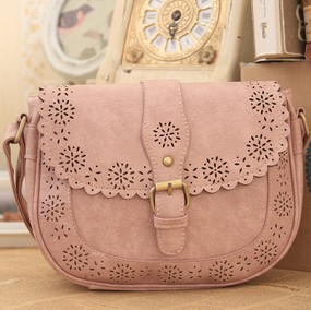 2015 Small Fresh Pure Color Hollow Out New Women Saddle Fashion Bags Leather Women's Handbags Shoulder Messenger Crossbody Bags(China (Mainland))