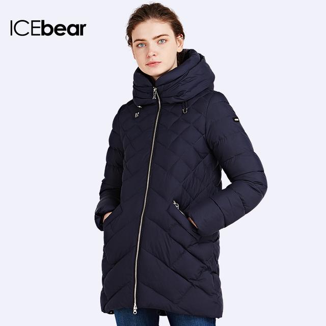 ICEbear 2016 Модель пуховика длинная Приталенный пошив куртки Парка женская зимняя Женские зимние куртки и пальто 16G686