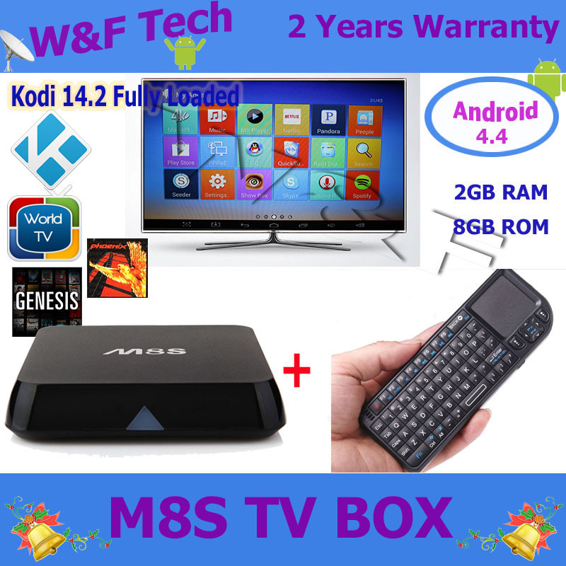 5pcs Amlogic S812 M8S android tv box quad core android 4.4 OS 2gb/8gb kodi 14.2 fully loaded with wireless keyboard x1 air mouse(China (Mainland))