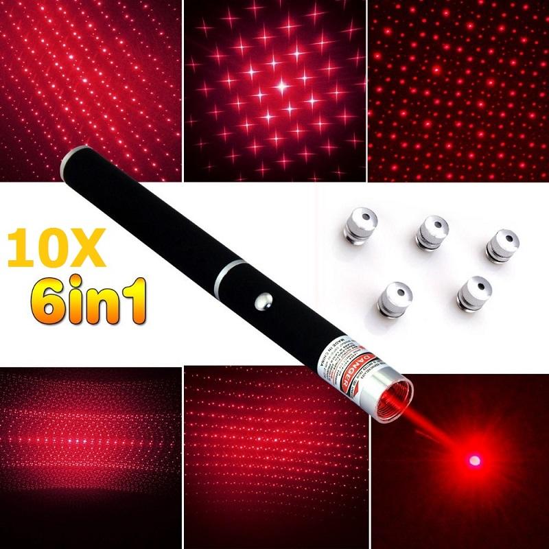 New 10PCS 5mw 6in1 Red Laser Pen Puntero Laser Caneta Verde Presenter Mira Laser Azul Different Patterns+Star Caps free shipping<br><br>Aliexpress
