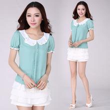 2014 Women Clothing Fashion Short Sleeve Bow Chiffon Blouse Polka Dot Loose Plus Size Women Shirt Spring Summer  S-4XL DH2246