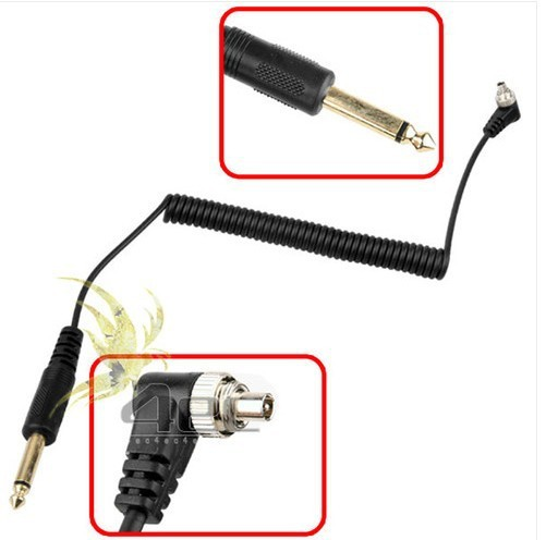 Photo Studio Accessories New 6.35mm to Male / 6.35mm-Male for FLASH PC Sync Cable Cord with Screw Lock(China (Mainland))