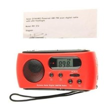 10pcs/lot Newest Mini Portable Radio Solar Dynamo Power AM/FM Scan Digital Radio With 3 LEDs Flashlight Phone Charge