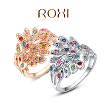 ROXI peacock Rings Rose Gold Plated Top Quality with Genuine Austrian Crystals 100% Hand Made Fashion Jewelry Christmas Gift(China (Mainland))