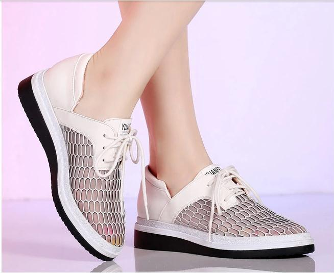Small Size 34 39 Women Summer Flats Girl Cut-Outs Lace-Up Wedge Shoes Students Casual Mesh Sandles Young Breathable Outdoor Shoe<br><br>Aliexpress