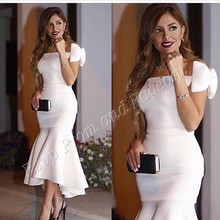Long Arabic Style Evening Dresses 2016 Sexy Boat Neck Saudi Arabia Bow Dubai Mermaid White Women Formal Evening Gowns(China (Mainland))