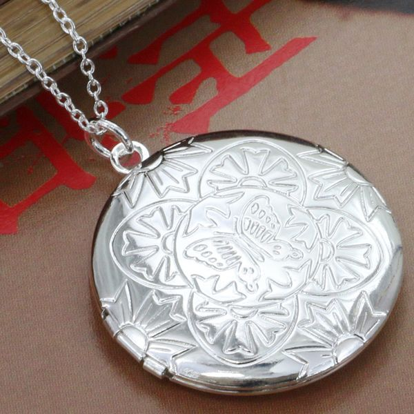 P183 fashion jewelry chains necklace silver plated pendant Butterfly Round Photo Frame /dtna mkua - Fancy True Love Jewelry Trade Co.,Ltd store