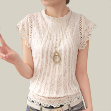 Blusas Femininas 2016 Summer Women Fashion Plus Size Crochet Hollow out Lace Blouse Short Sleeve White Black Slim Tops Shirts
