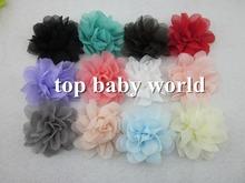 "DIY 2.5"" Chiffon Flowers for headband fabric Flowers DIY Photography props kids hair accessories for girls headband(China (Mainland))"