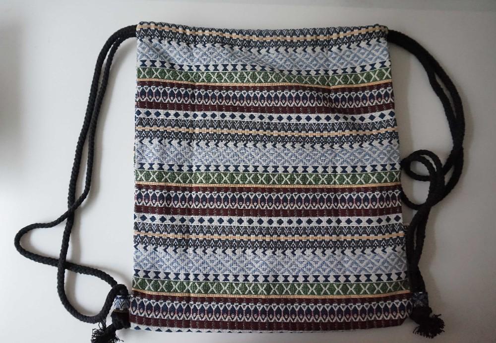 2017 Women Vintage Backpack Female Gypsy Bohemian Boho Chic Aztec Folk Tribal Ethnic Fabric Brown String Drawstring Backpack Bag