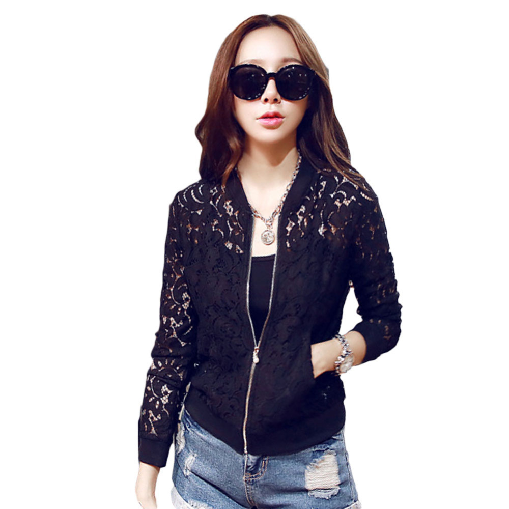 New hot Casual Spring Autumn Women Jackets Lace Hollow Out Jacket Tops Zipper Long Sleeve Slim White Black Outwear Coats 9570(China (Mainland))