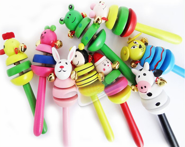 New Colorful Non-toxic Wooden Animal Smiling Face Rattle Jingle Bell Handbell Toy for Baby Randomly<br><br>Aliexpress