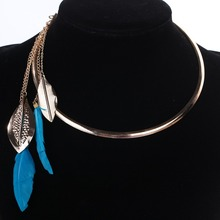 Fashion Women Hot Jewelry Round Rose Gold Bib Collar Chain Blue Feather Dangle Necklace For Women