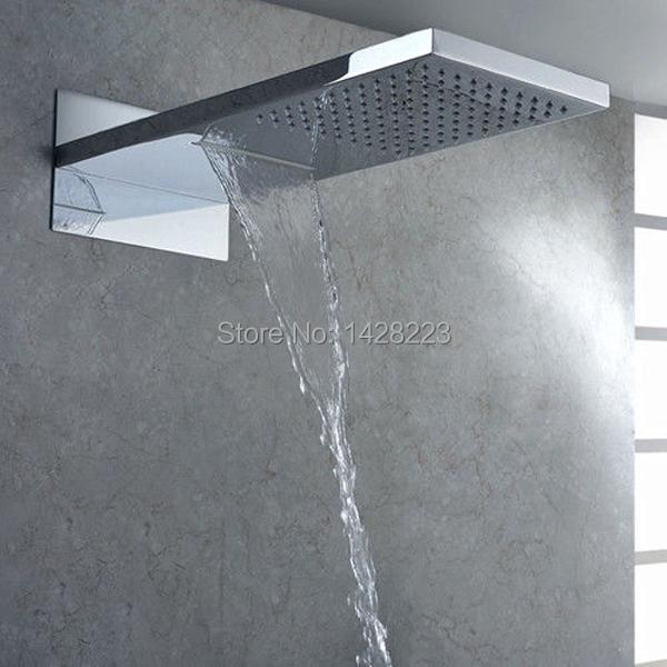 Luxury Dual Functions Waterfall Shower Head Polished Chrome Brass Big Rainfall Shower Head Chrome Finished(China (Mainland))