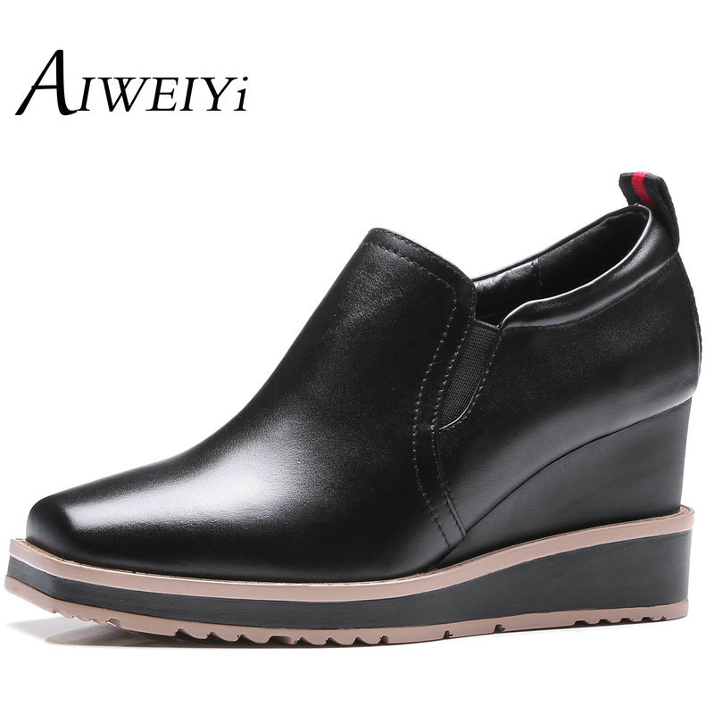 AIWEIYi Women Pumps Genuine Leather Square Toe High Heels OL Style Black Red Wedges Shoes Slip On Loafers Big Size 34-42(China (Mainland))