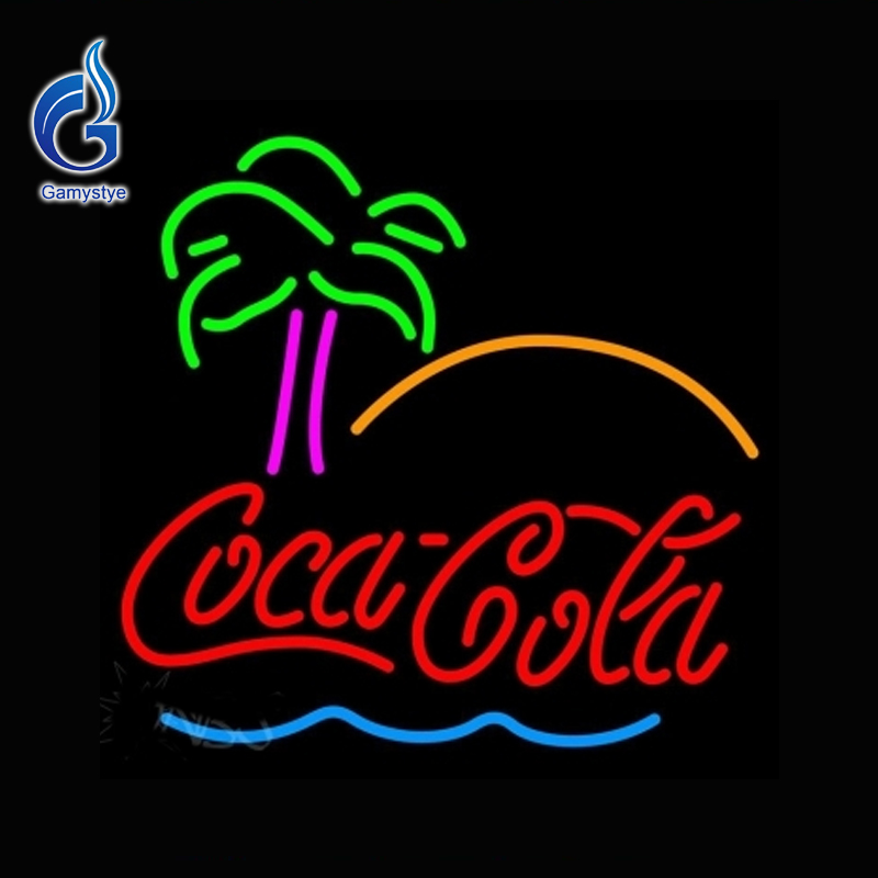 Neon Sign Go Cocaa Cola Tree Neon Bulb Beer Pub Soft Drink Neon Lights Outdoor a Frame Sign Lamp Glass Tube Affiche Neon 17x17(China (Mainland))