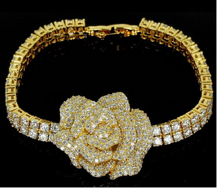 New arrival Hot sell Gold bracelets for women 18k gold plated prom 2016 Flower girl Wedding bracelets crystal Free shipping(China (Mainland))