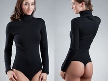 Hot Sexy Women Lycra Long Sleeve Body Turtleneck Suit Black White High Collar Triangular T Crotch Teddy Bodysuit Lingerie