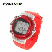 Moda Casual hombres y mujeres del deporte de digitaces del reloj Monitor de ritmo cardíaco consumo de calorías muñeca de grabación reloj de Color rojo ( CR2032 )