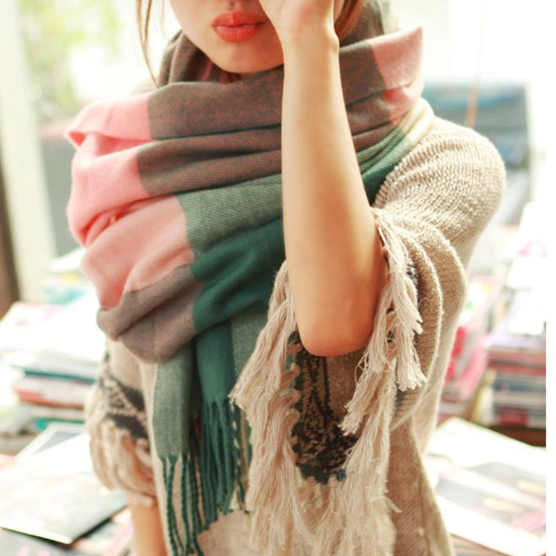 2015 New Winter Scarf Women High Quality Shawls And Scarves Knitted Blanket Scarf Warm Desigual Plaid