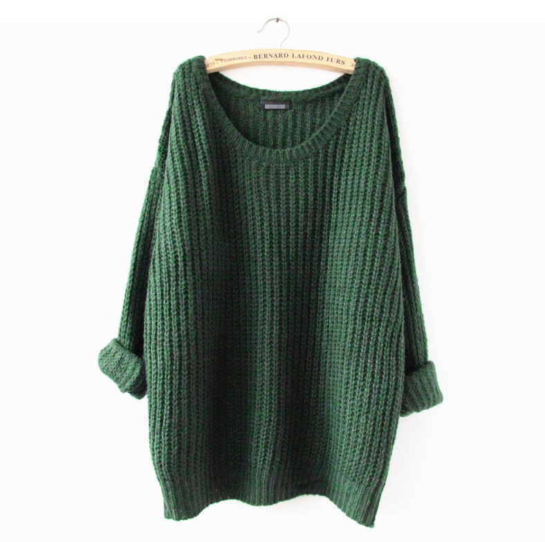 6 Colors 2015 New Fashion Autumn Winter Women Oversized Batwing Sleeves O Neck Tops Loose Outwear