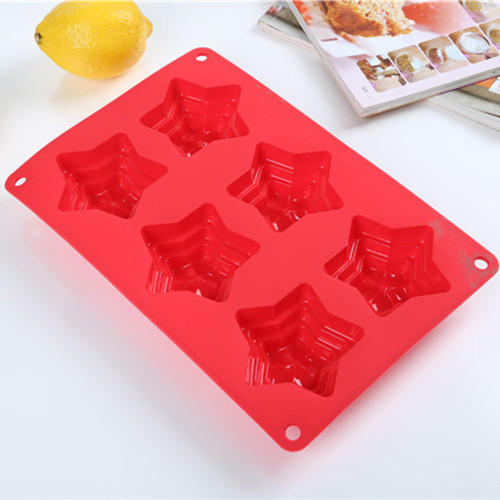 6 Cavity Five-Pointed Star Shape Cupcake Pan Mold Silicone Bakeware Mold Pastry Tools Free Shipping(China (Mainland))
