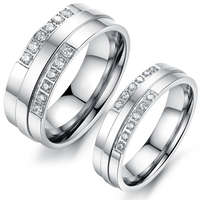 Silver Tone Stainless Steel Couples Promise Rings Real Love Gift Never Fade Finger CZ Ring Wedding Band Jewelry For Men