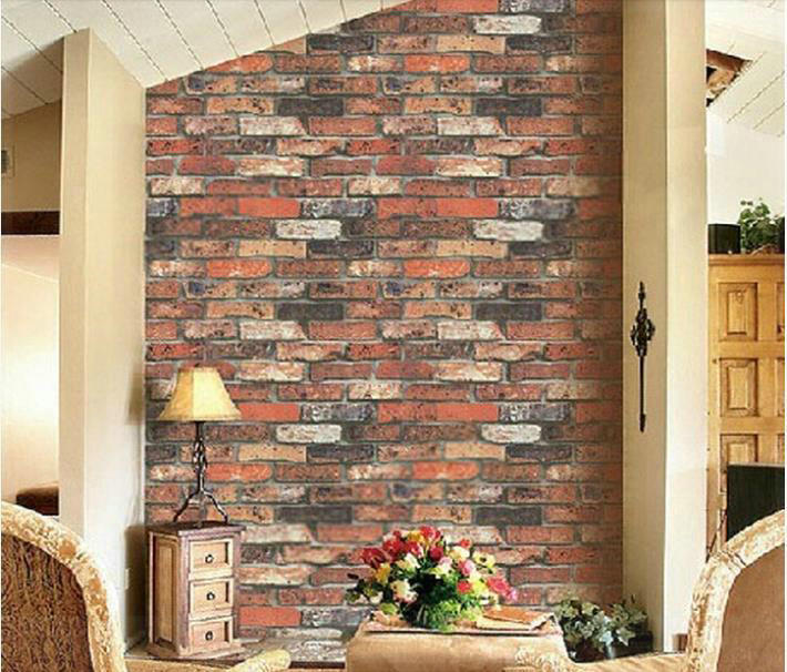 Red brick vintage three dimensional brick wallpaper roll for 3d brick wall covering