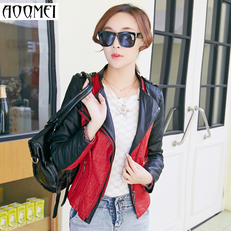 motorcycle jacket 2016 spring and autumn stand collar short women design jacket cotton padded jacket coat