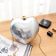 2017 женщины сумка женская мода сумочка женщины в форме сердца вечерняя сумочка коробка сладкий рука плеча crossbody маленькая сеть мешок(China (Mainland))