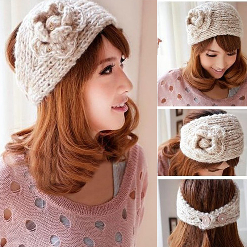 Beauty High Quality Winter Fashion 13 Colors Flower Crochet Knit Knitted Headwrap Headband Ear Warmer Hair Muffs Band(China (Mainland))