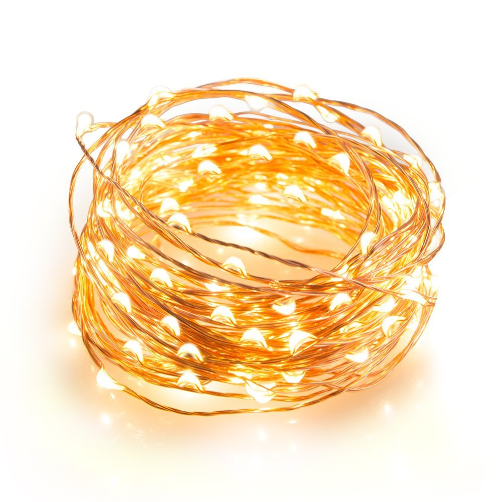 Magicnight 20ft 60 Warm White Mini Micro LED Starry Lights Submersible Fairy Lights Copper LED String Light Home Decoration