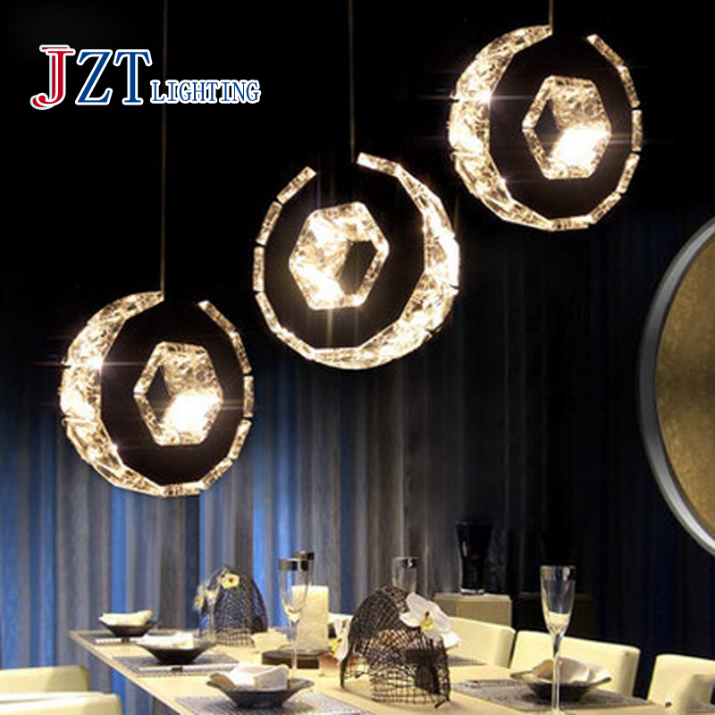 T 2016 New Simple Circular Crystal Pendant Light 3 Heads Modern Northern Europe Creative Lamps For Restaurant Fashion DHL Free(China (Mainland))