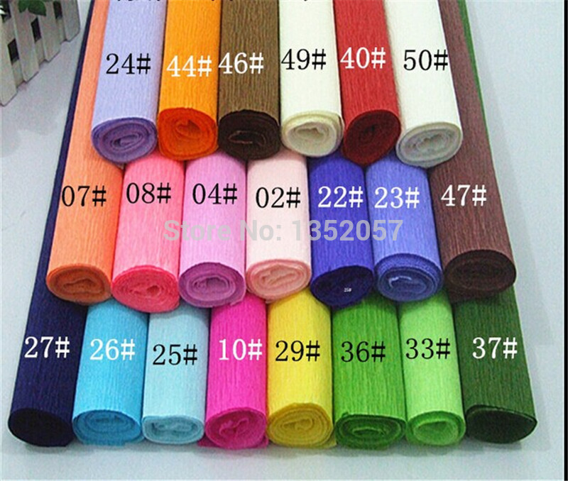 250*50cm/Roll DIY Flower/ Gift Decoration Wrapping Packing Crepe Papers, Handmade Materials of Crinkled Paper 2pcs/lot(China (Mainland))