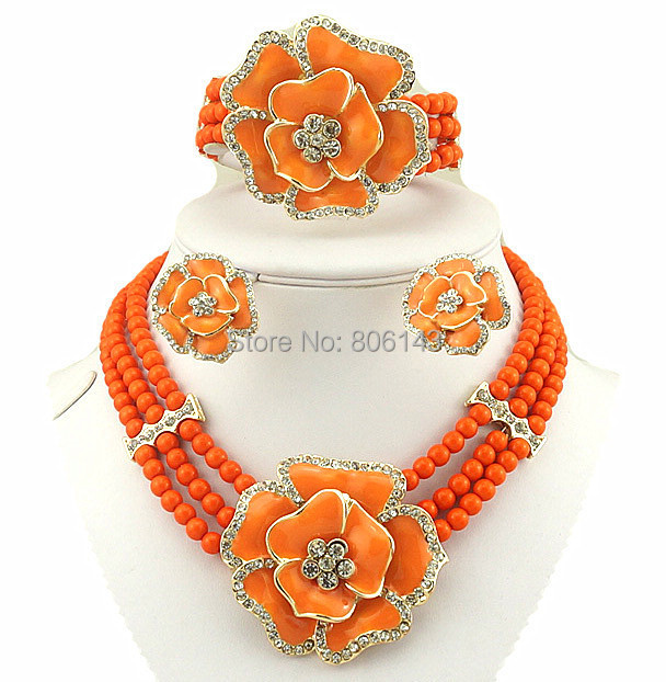 african bead jewelry sets african women necklace pearl jewelry rose wedding jewelry(China (Mainland))