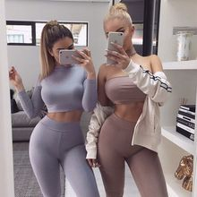 Buy female winter set sweatshirt pants two piece outfit 2 piece set women suit crop top legging set track suit crop hoodie set T829 for $14.41 in AliExpress store