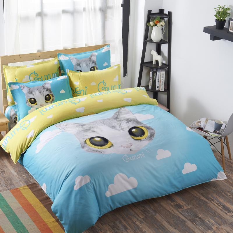 New Bedding Set Cat Cartoon Bedlinen 3 4pcs Twin. Online Get Cheap Full Size Kids Bedroom Sets  Aliexpress com
