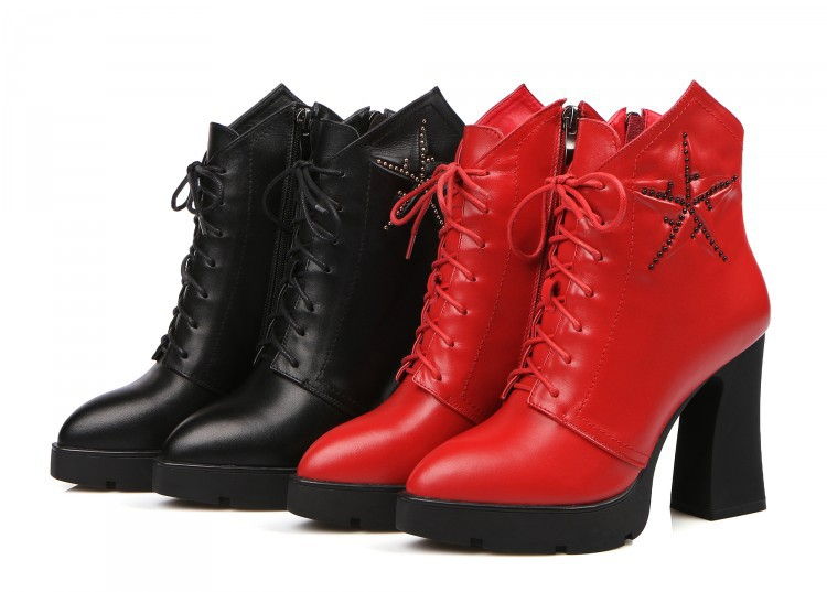 Фотография 2015 New Arrive Women Shoes High-top Ultra Thick Heel Women Platform High Heels pointed toe ankle Boots sexy red Short boots