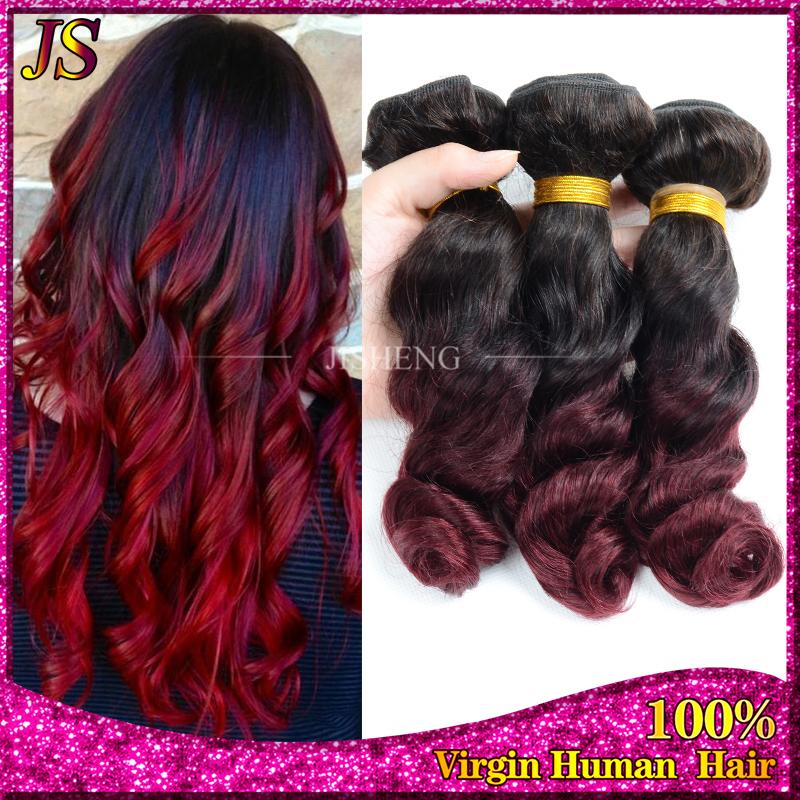 Queen Weave Beauty Malaysian Loose Wave Virgin Hair 3 pcs Ombre Malaysian Hair Weave Bundles T1b/99J Cheap Two Tone Human Hair<br><br>Aliexpress