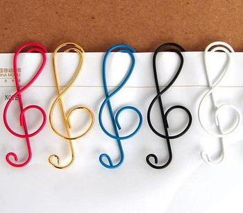Musical Note Mixed Color Cute Metal Clip Bag Clip Paper Clips Office School creative Gift Wholesale  Free Shipping
