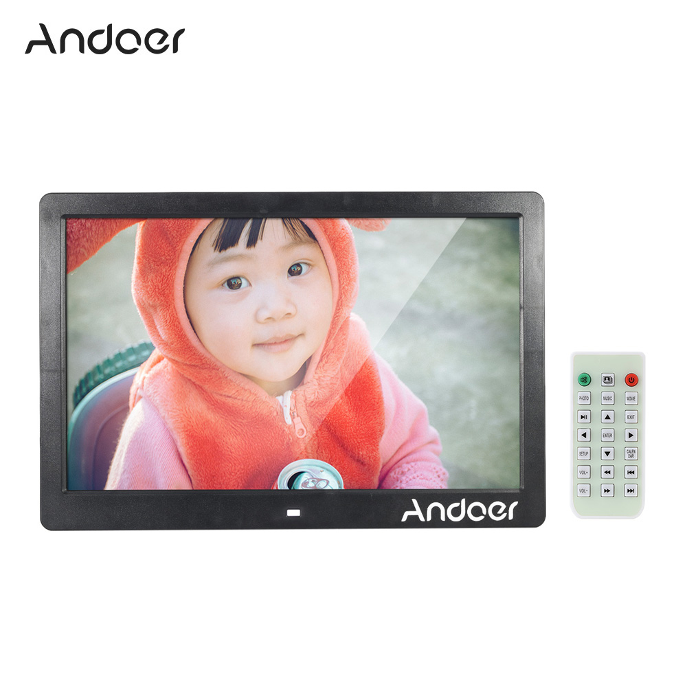 """Andoer 13"""" TFT LED High Resolution 1280*800 Digital Photo Frame Picture Frame MP3/4 Movie Player Alarm Clock with Remote Control(China (Mainland))"""