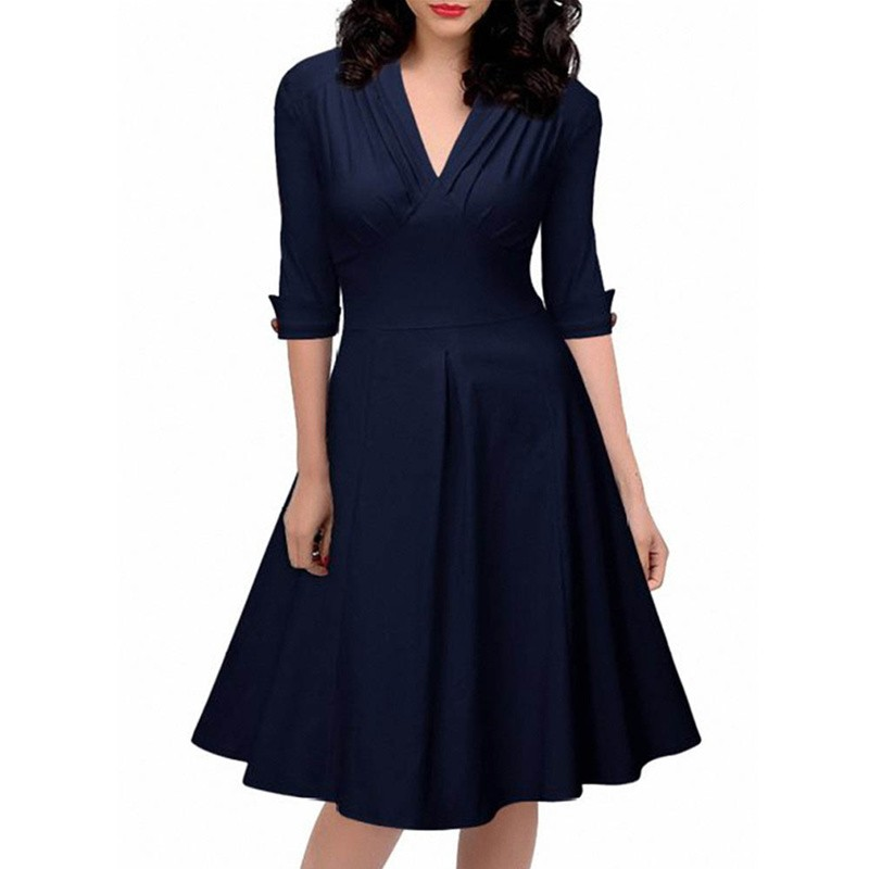 2016 Latest Woman Apparel Clothes Autumn Sleeves Ladies Casual Work Office and Party Formal Dress L36109-2 (2)